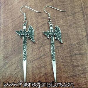 Jewelry - Silver Axe Earrings/Nordic Earrings/Battle Axe